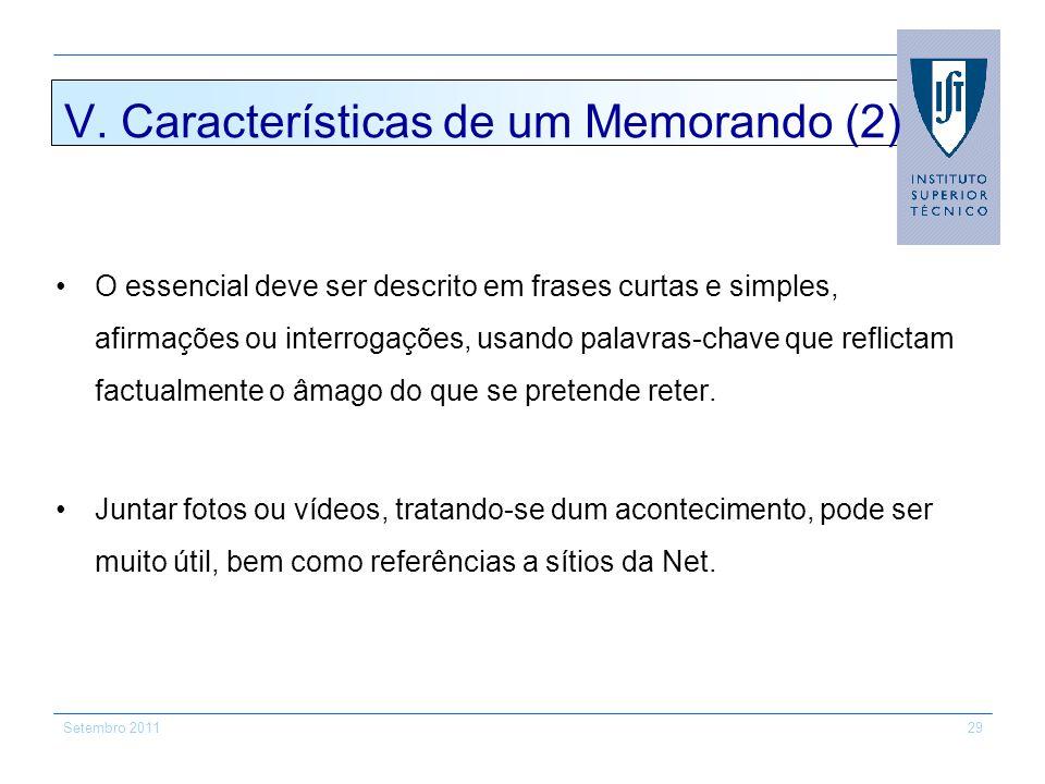 V. Características de um Memorando (2)