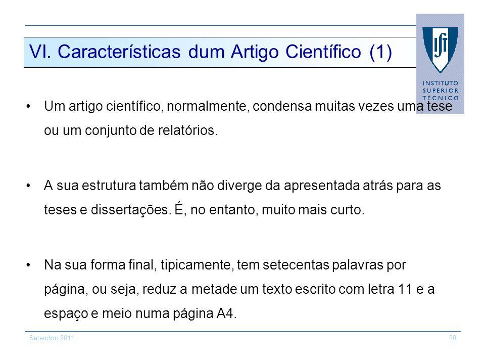 VI. Características dum Artigo Científico (1)