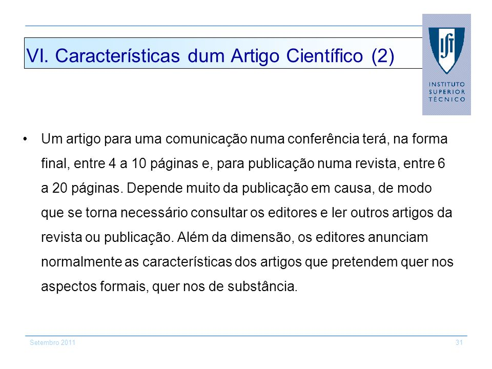 VI. Características dum Artigo Científico (2)