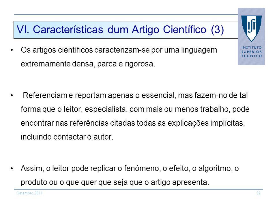 VI. Características dum Artigo Científico (3)