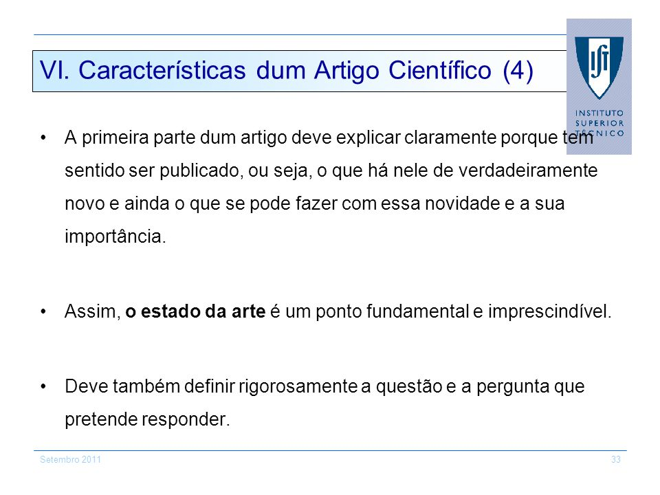 VI. Características dum Artigo Científico (4)