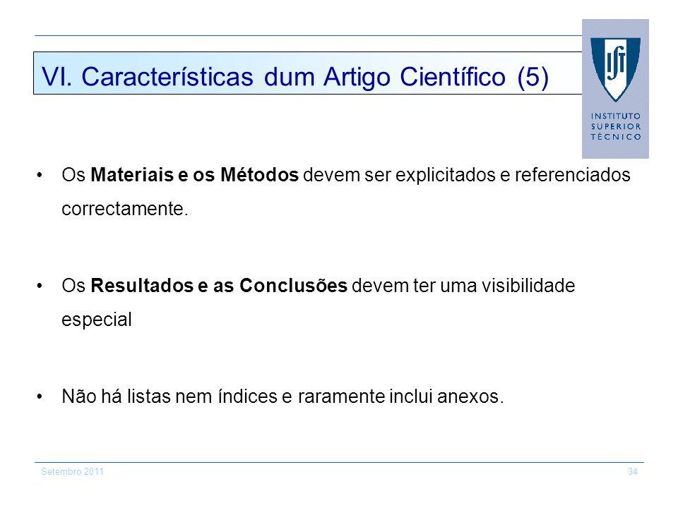VI. Características dum Artigo Científico (5)