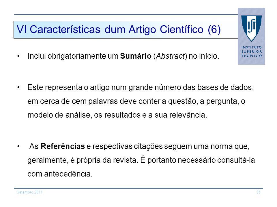 VI Características dum Artigo Científico (6)