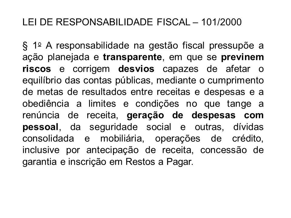 LEI DE RESPONSABILIDADE FISCAL – 101/2000