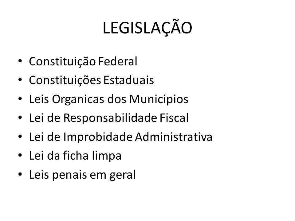 LEGISLAÇÃO Constituição Federal Constituições Estaduais