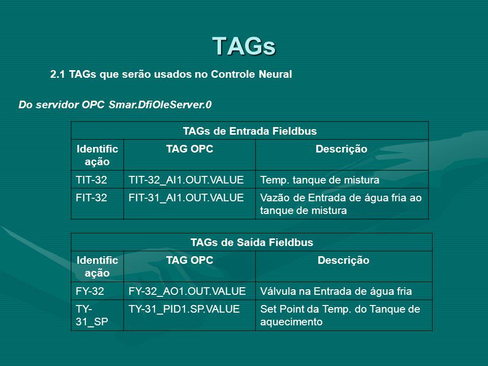2.1 TAGs que serão usados no Controle Neural TAGs de Entrada Fieldbus