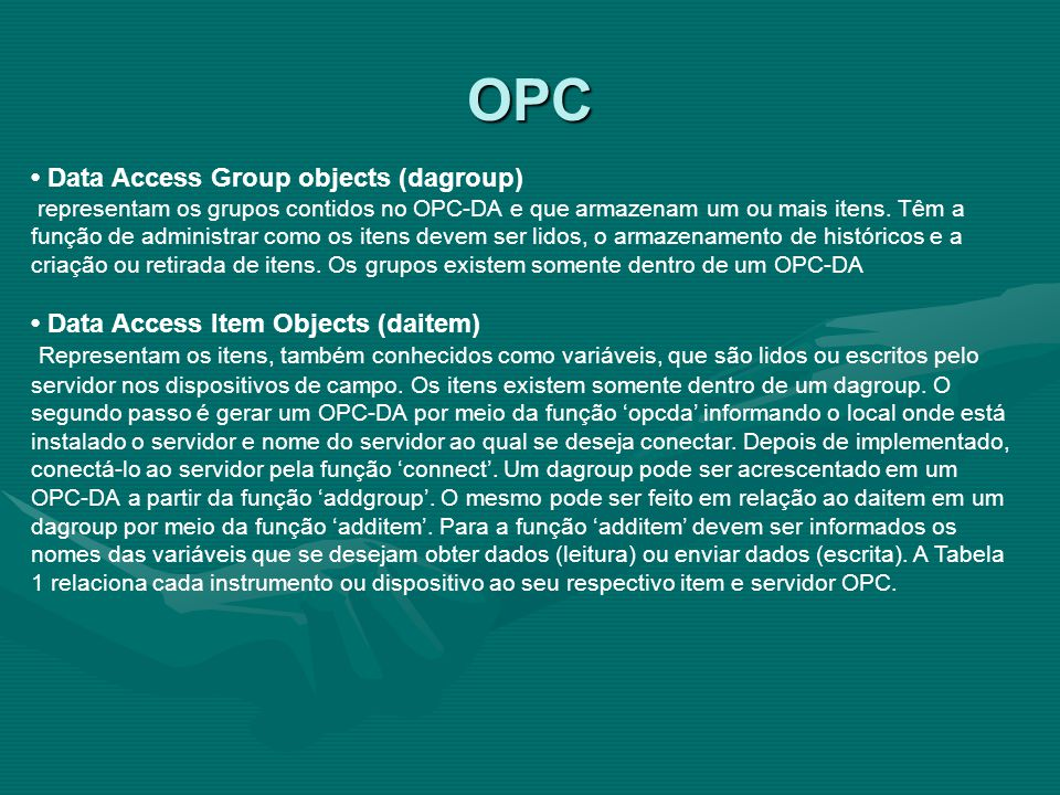 OPC • Data Access Group objects (dagroup)