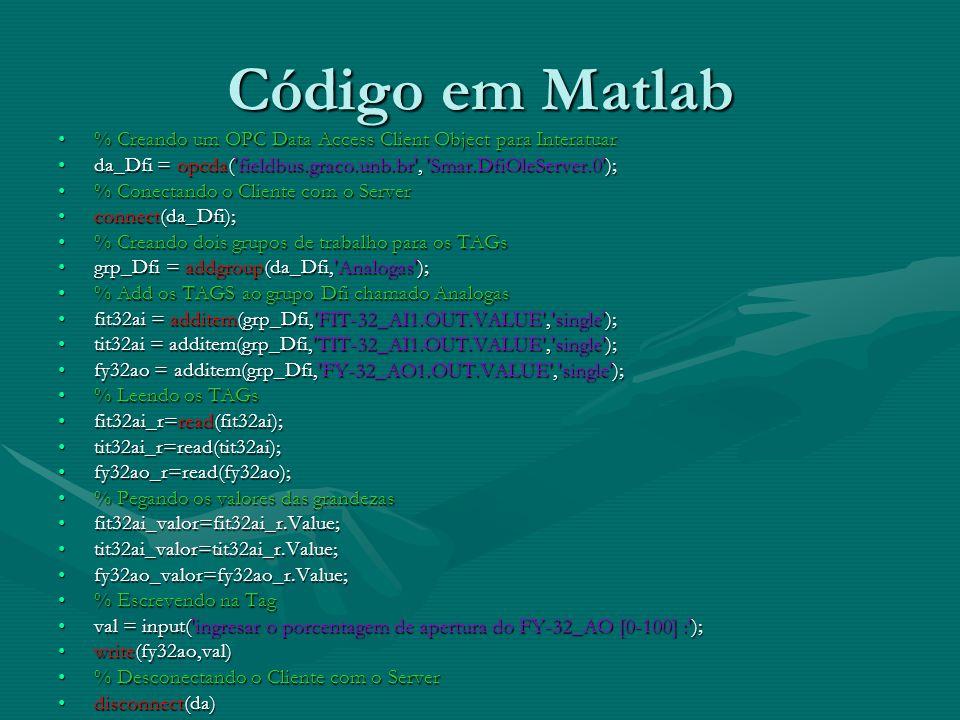 Código em Matlab % Creando um OPC Data Access Client Object para Interatuar. da_Dfi = opcda( fieldbus.graco.unb.br , Smar.DfiOleServer.0 );