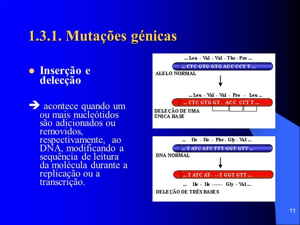1.3.1. Mutações génicas Inserção e delecção