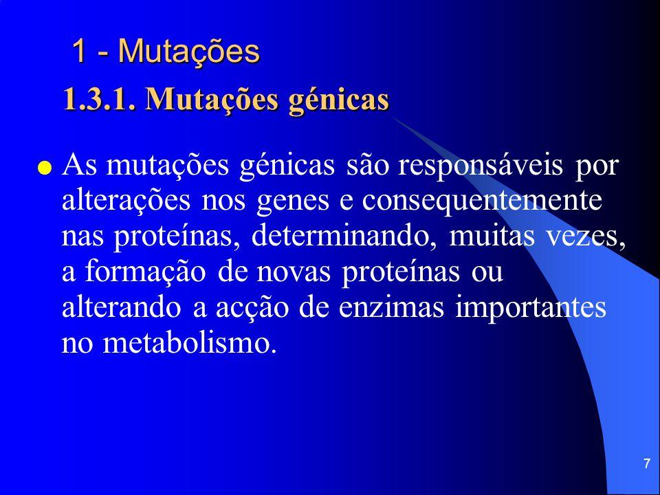 1 - Mutações 1.3.1. Mutações génicas