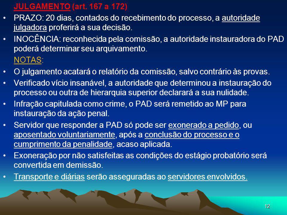 JULGAMENTO (art. 167 a 172) PRAZO: 20 dias, contados do recebimento do processo, a autoridade julgadora proferirá a sua decisão.