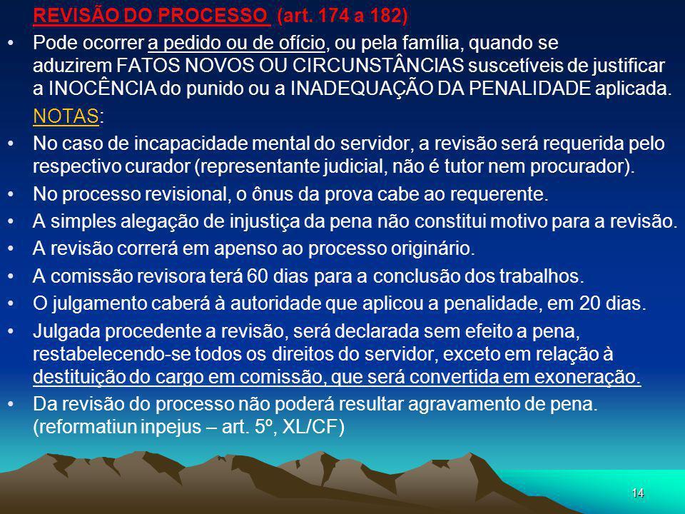 REVISÃO DO PROCESSO (art. 174 a 182)