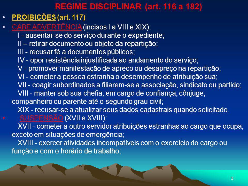 REGIME DISCIPLINAR (art. 116 a 182)