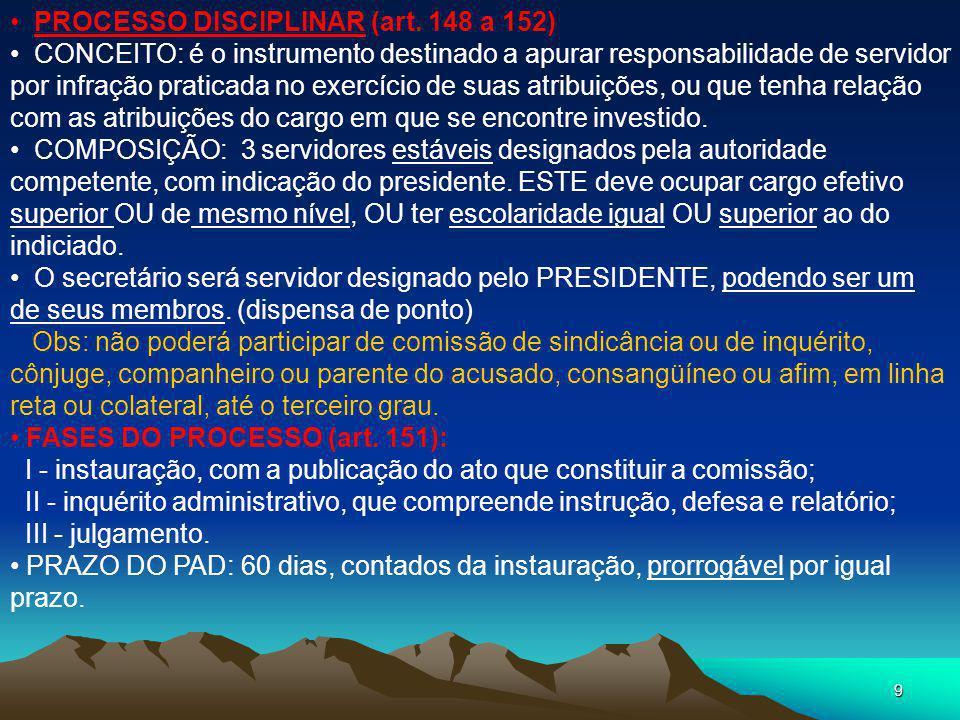 PROCESSO DISCIPLINAR (art. 148 a 152)