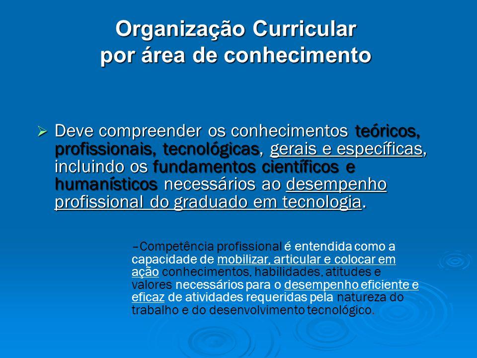 Organização Curricular por área de conhecimento