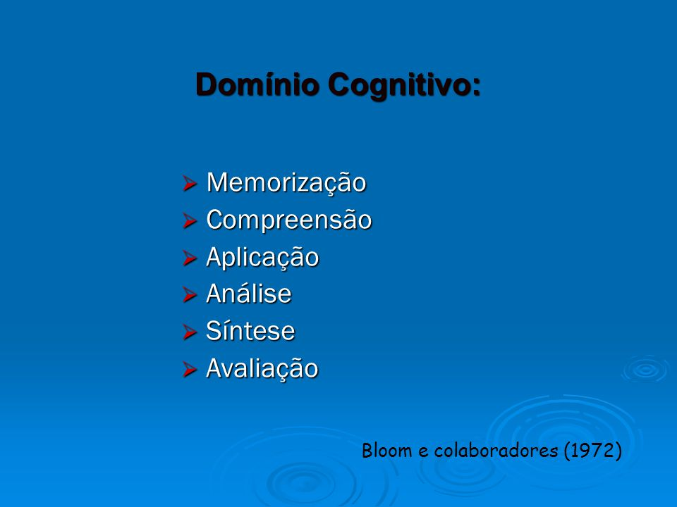 Domínio Cognitivo: Memorização Compreensão Aplicação Análise Síntese