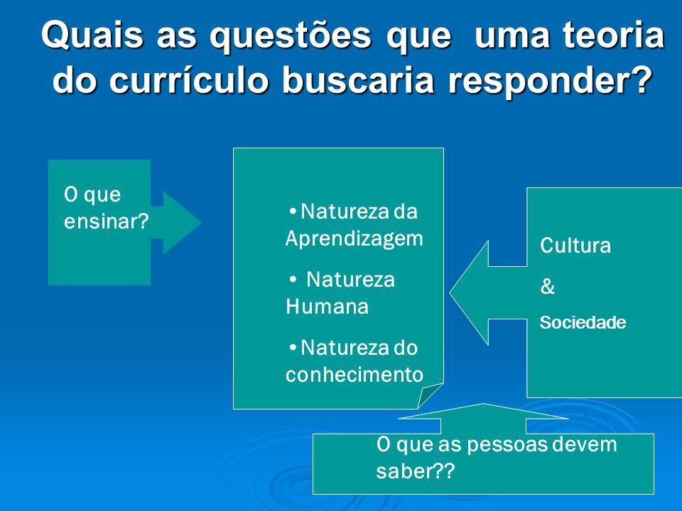 Quais as questões que uma teoria do currículo buscaria responder