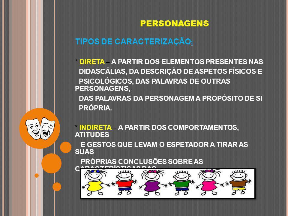 TIPOS DE CARACTERIZAÇÃO: