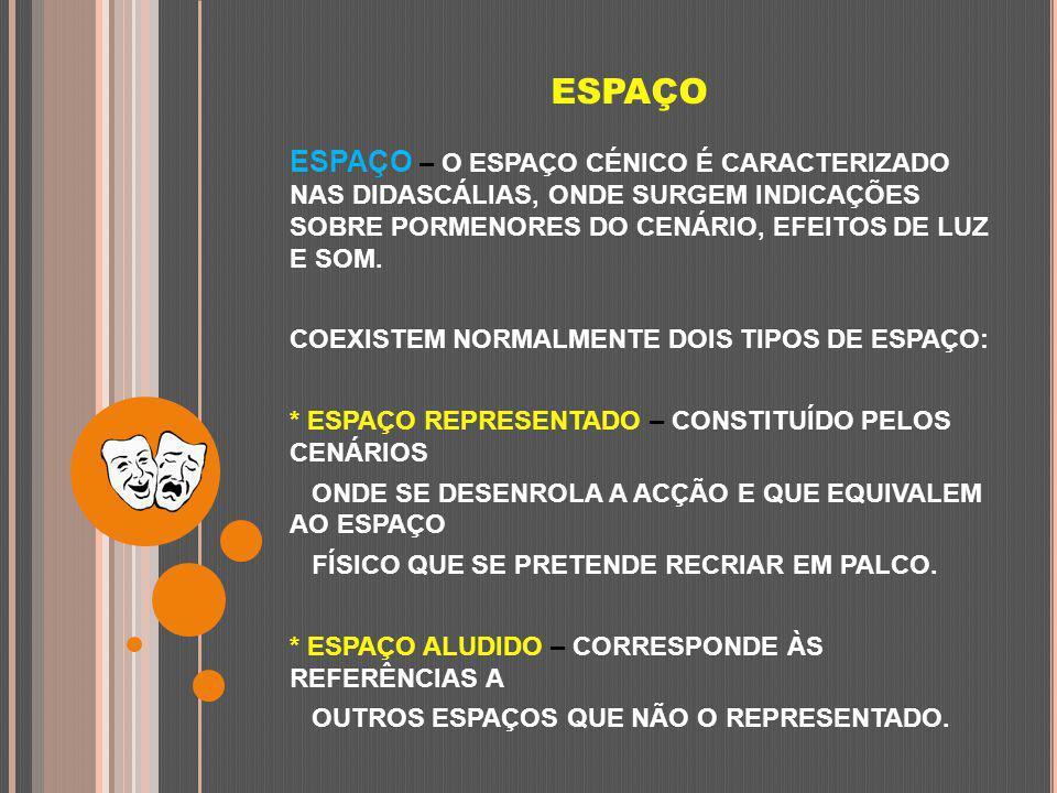 ESPAÇO ESPAÇO – O ESPAÇO CÉNICO É CARACTERIZADO NAS DIDASCÁLIAS, ONDE SURGEM INDICAÇÕES SOBRE PORMENORES DO CENÁRIO, EFEITOS DE LUZ E SOM.