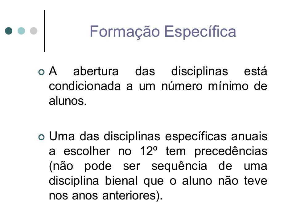 Formação Específica A abertura das disciplinas está condicionada a um número mínimo de alunos.