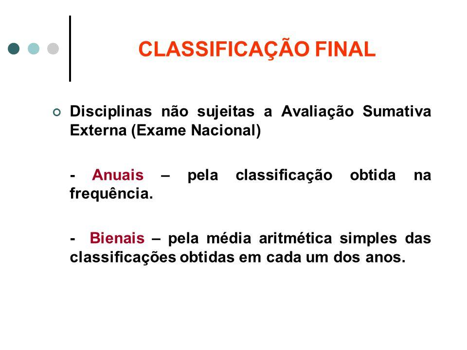 CLASSIFICAÇÃO FINAL Disciplinas não sujeitas a Avaliação Sumativa Externa (Exame Nacional) - Anuais – pela classificação obtida na frequência.