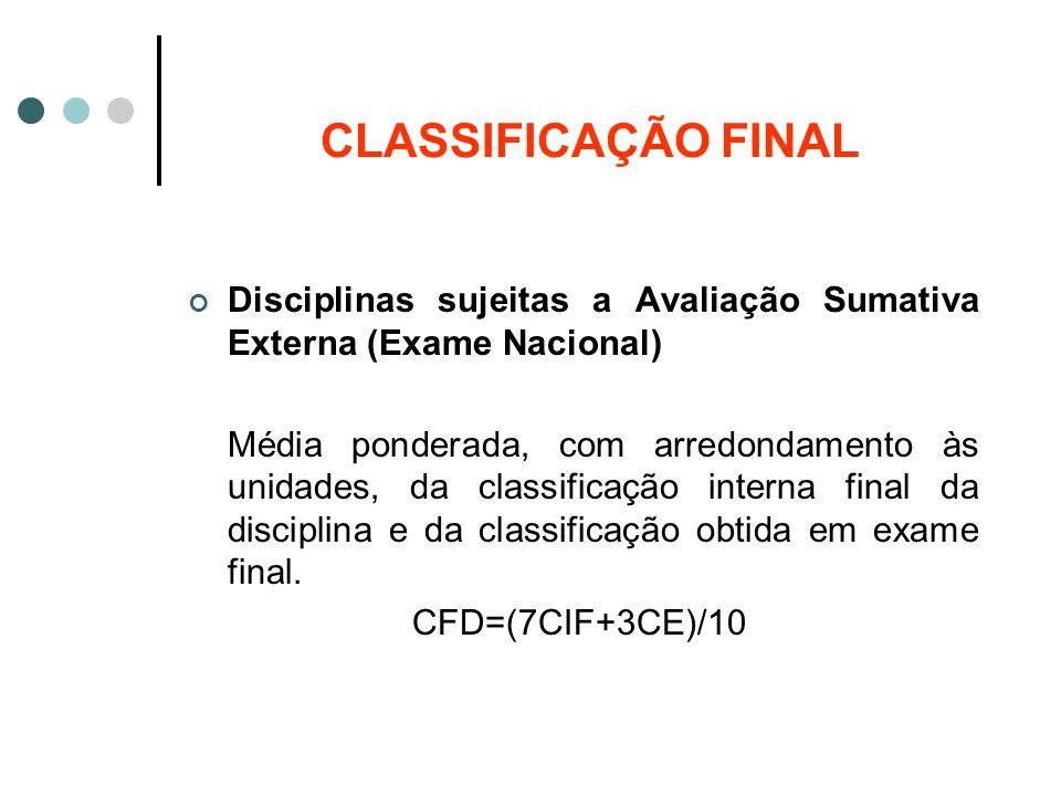CLASSIFICAÇÃO FINAL Disciplinas sujeitas a Avaliação Sumativa Externa (Exame Nacional)