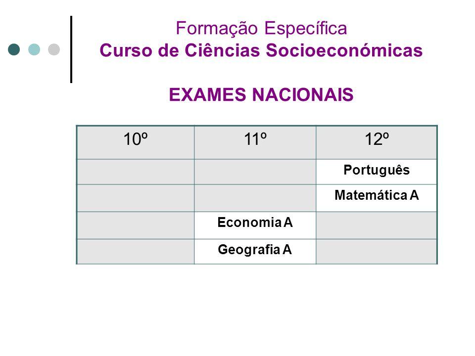 Formação Específica Curso de Ciências Socioeconómicas EXAMES NACIONAIS