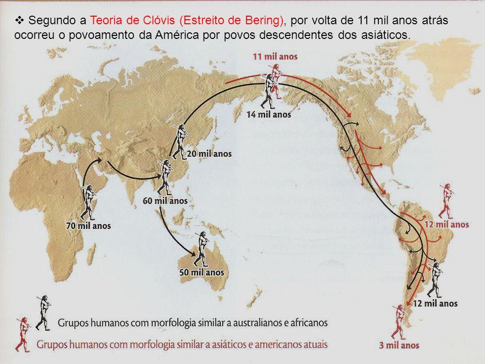 Segundo a Teoria de Clóvis (Estreito de Bering), por volta de 11 mil anos atrás ocorreu o povoamento da América por povos descendentes dos asiáticos.