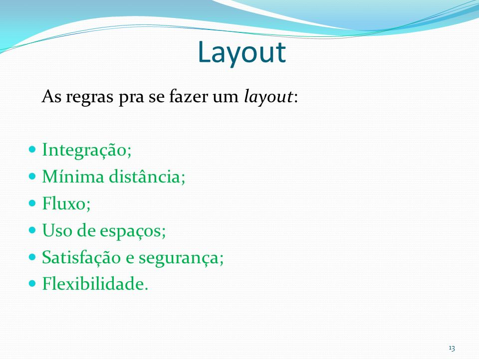 Layout As regras pra se fazer um layout: Integração; Mínima distância;