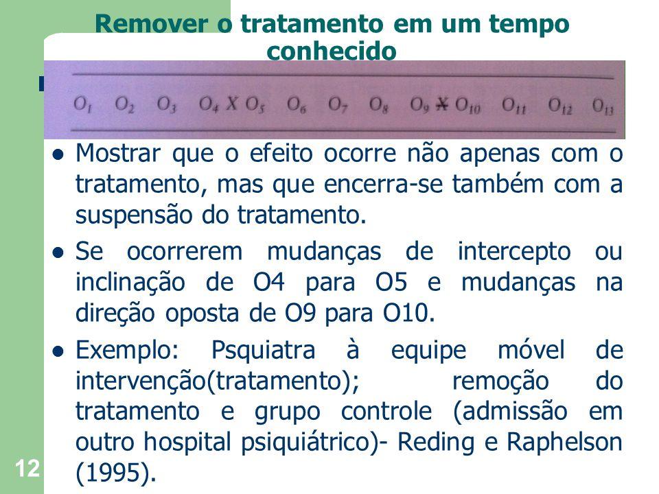 Remover o tratamento em um tempo conhecido