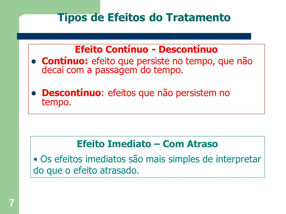 Tipos de Efeitos do Tratamento