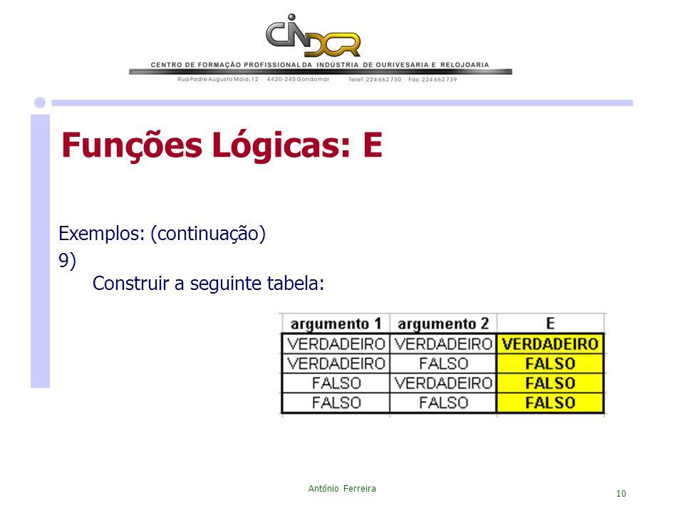 Funções Lógicas: E Exemplos: (continuação) 9)