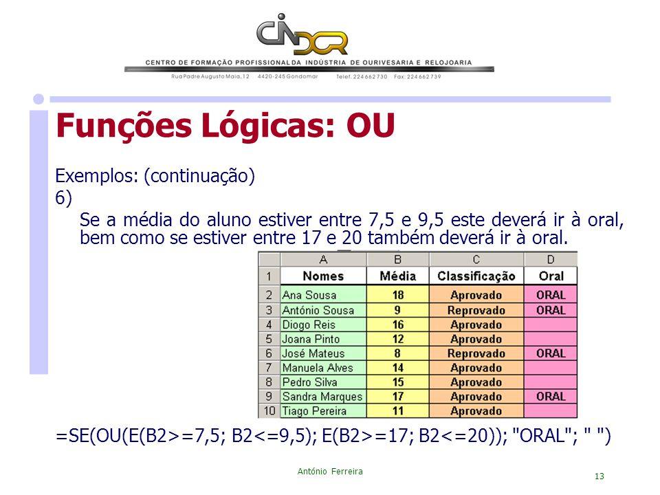 Funções Lógicas: OU Exemplos: (continuação) 6)
