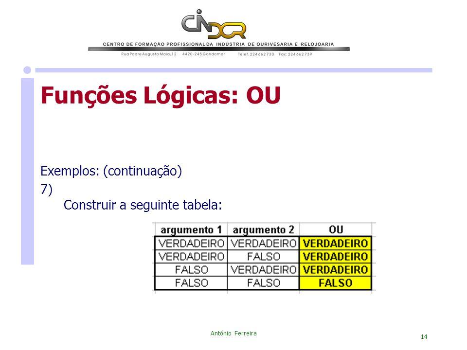 Funções Lógicas: OU Exemplos: (continuação) 7)