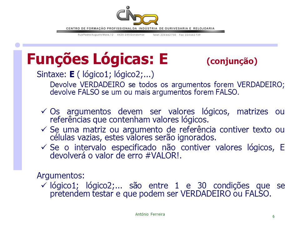 Funções Lógicas: E (conjunção)