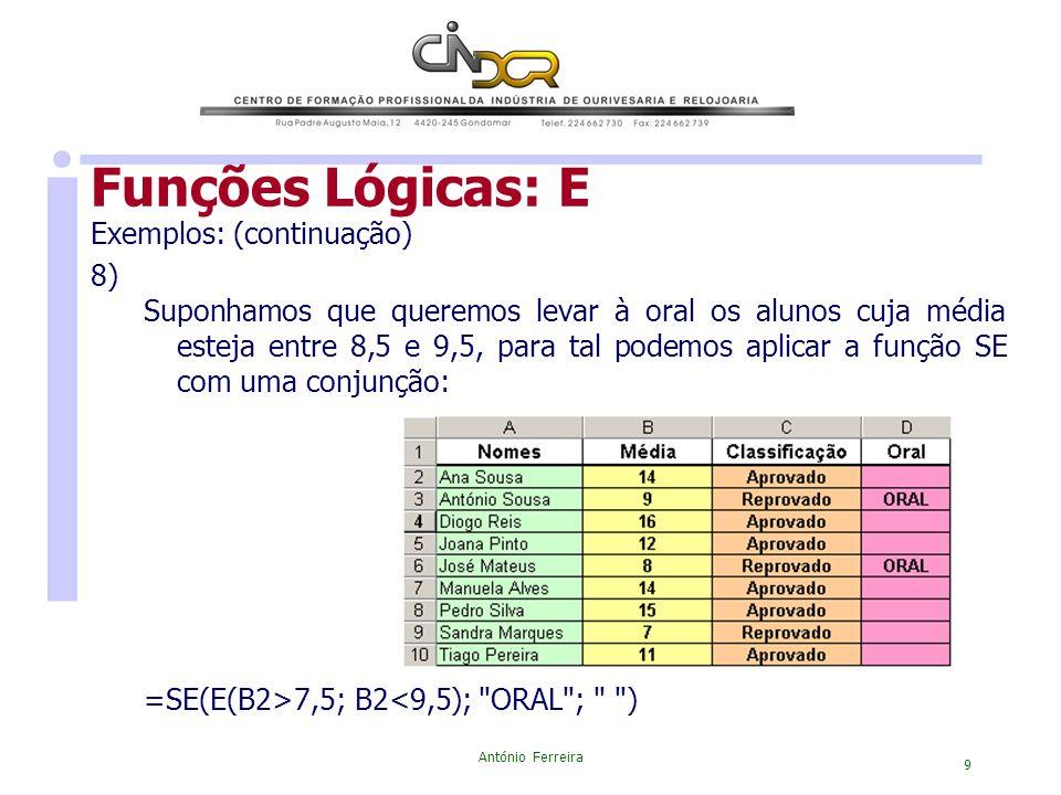 Funções Lógicas: E Exemplos: (continuação) 8)