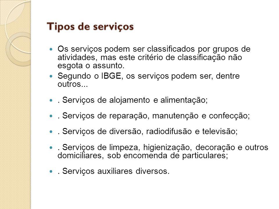 Tipos de serviços Os serviços podem ser classificados por grupos de atividades, mas este critério de classificação não esgota o assunto.