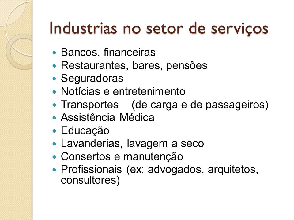 Industrias no setor de serviços