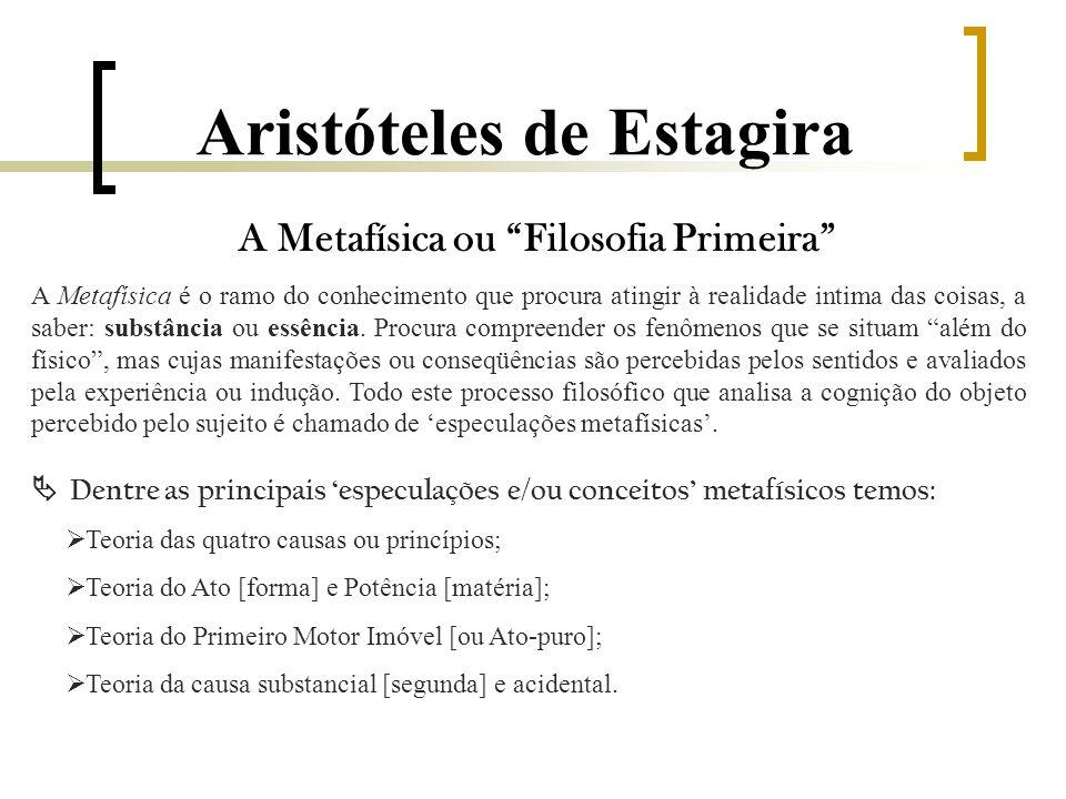 Aristóteles de Estagira A Metafísica ou Filosofia Primeira