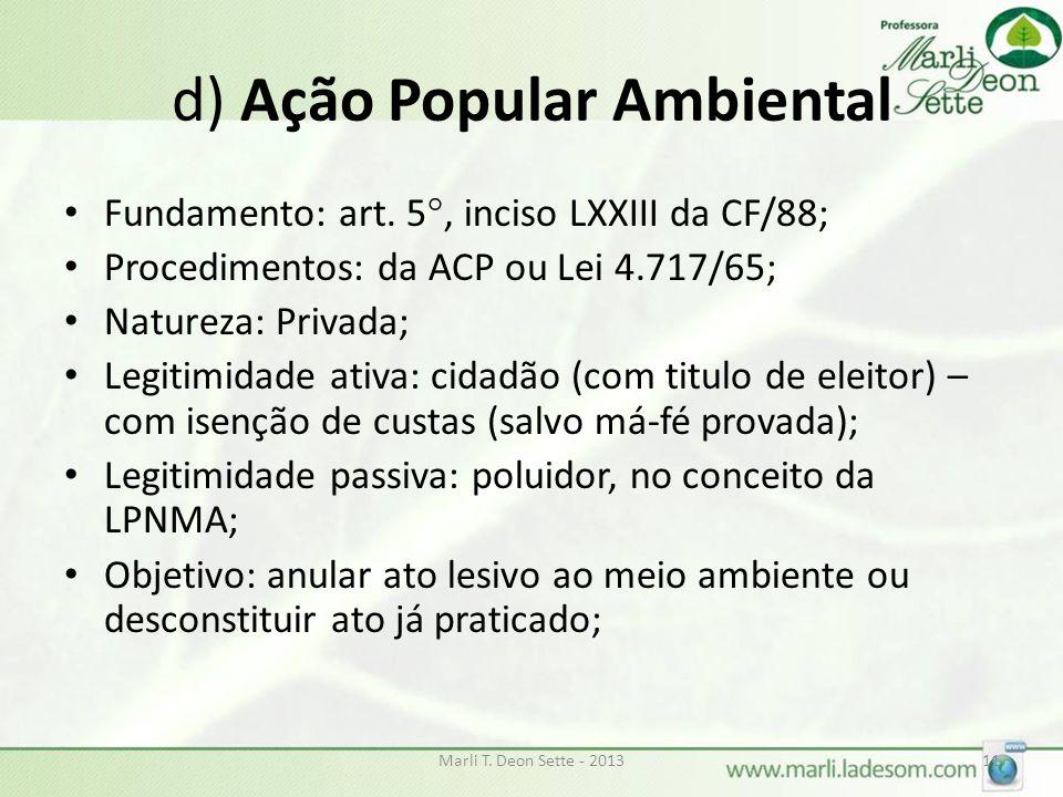 d) Ação Popular Ambiental
