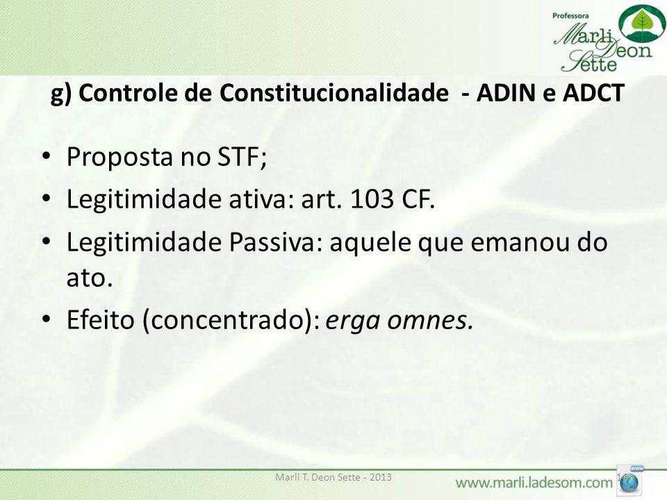 g) Controle de Constitucionalidade - ADIN e ADCT