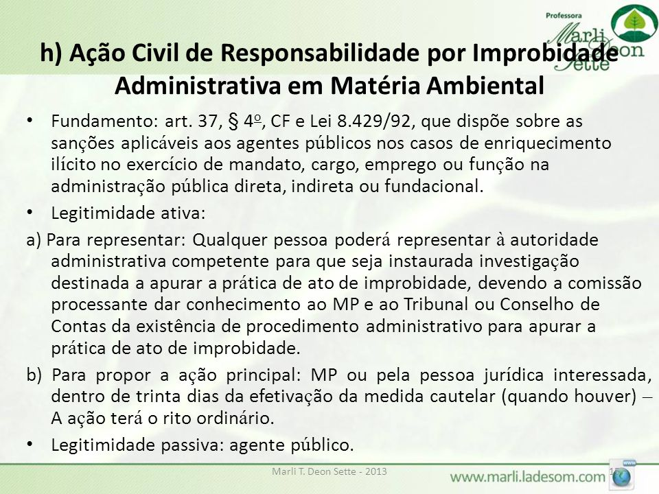 h) Ação Civil de Responsabilidade por Improbidade Administrativa em Matéria Ambiental
