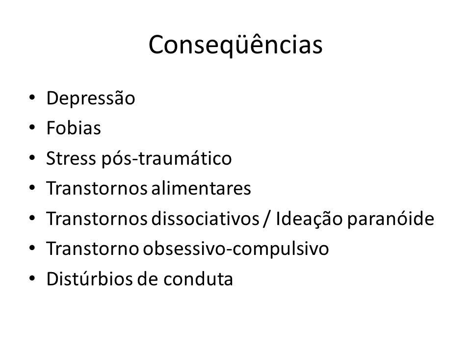 Conseqüências Depressão Fobias Stress pós-traumático