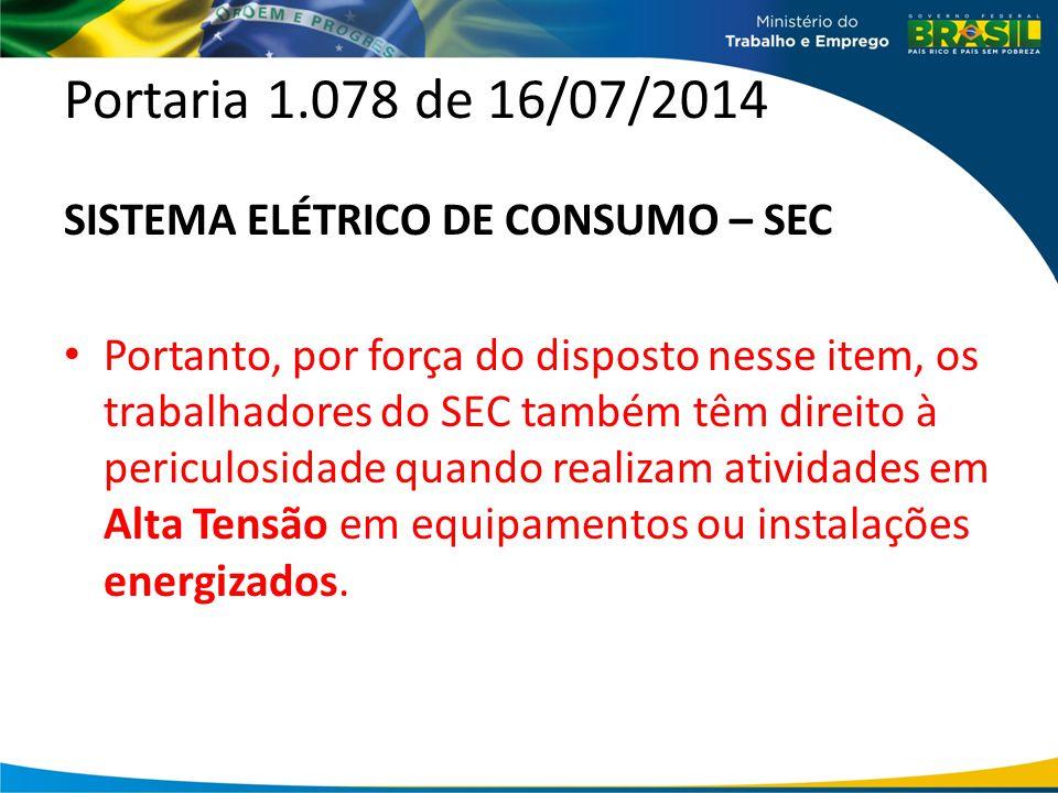 Portaria 1.078 de 16/07/2014 SISTEMA ELÉTRICO DE CONSUMO – SEC