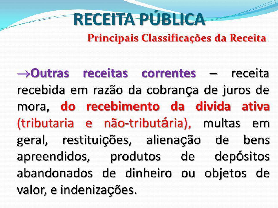 RECEITA PÚBLICA Principais Classificações da Receita.