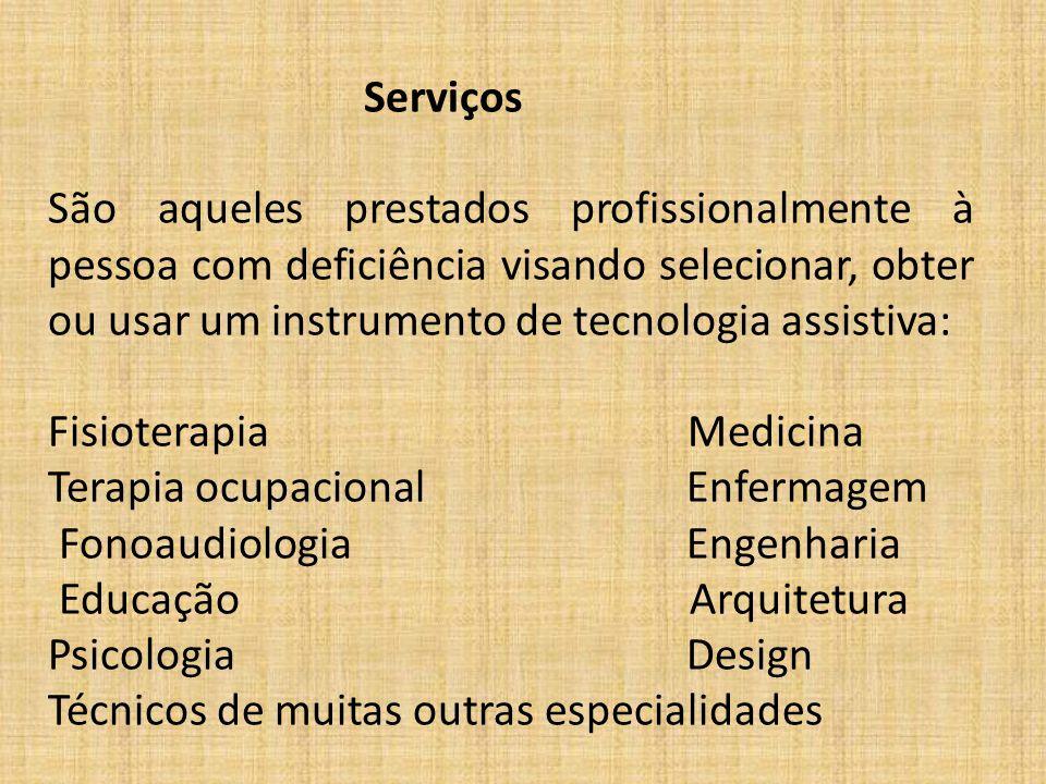 Serviços São aqueles prestados profissionalmente à pessoa com deficiência visando selecionar, obter ou usar um instrumento de tecnologia assistiva: