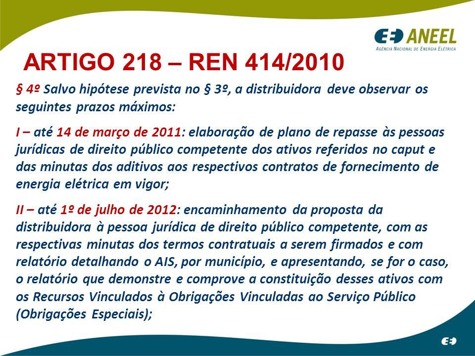 ARTIGO 218 – REN 414/2010 § 4º Salvo hipótese prevista no § 3º, a distribuidora deve observar os seguintes prazos máximos: