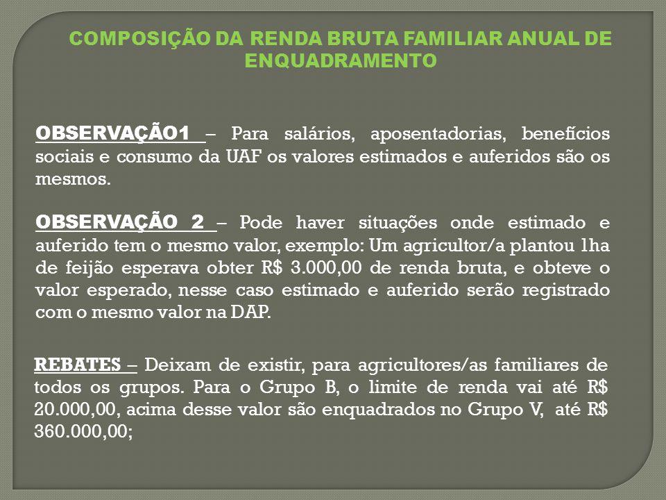COMPOSIÇÃO DA RENDA BRUTA FAMILIAR ANUAL DE ENQUADRAMENTO