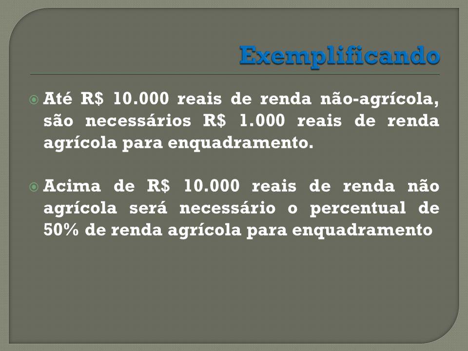 Exemplificando Até R$ 10.000 reais de renda não-agrícola, são necessários R$ 1.000 reais de renda agrícola para enquadramento.