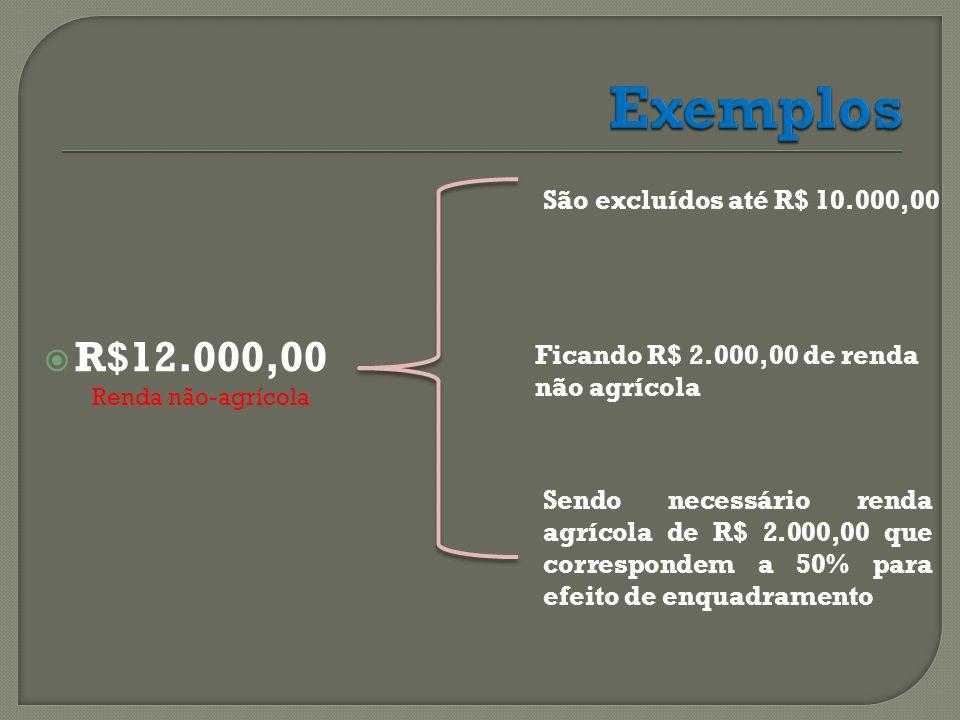 Exemplos R$12.000,00 São excluídos até R$ 10.000,00